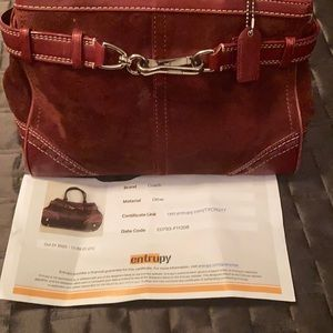 Coach Red rustic Leather and suede bag